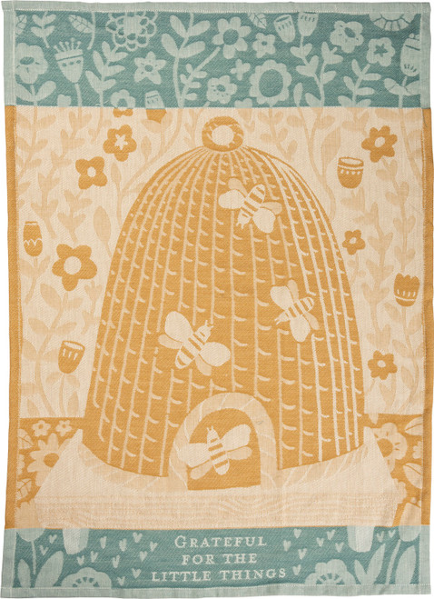 Bee Hive Bee Grateful for Little Things Jacquard Woven Cotton Kitchen Dish Towel