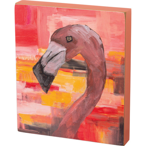 Go Wild Pink Flamingo Wooden Block Sign