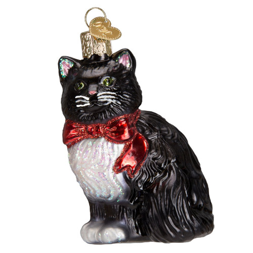 Tuxedo Kitty with Red Ribbon Scarf Christmas Holiday Ornament