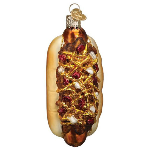 Chili Cheese Dog with Onions Christmas Holiday Ornament