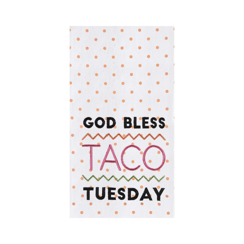 Taco Tuesday Flour Sack Kitchen Dish Towel Cotton Orange Polka Dots