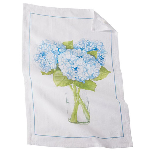 Mud Pie Hydrangea Bloom in Vase Flour Sack Kitchen Dish Towel