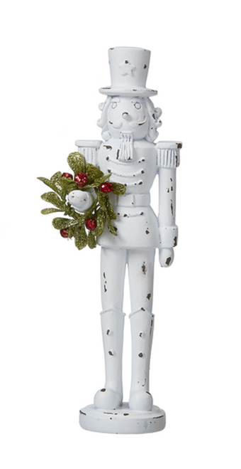 Farmhouse Distressed Nutcracker Christmas Holiday Figurine