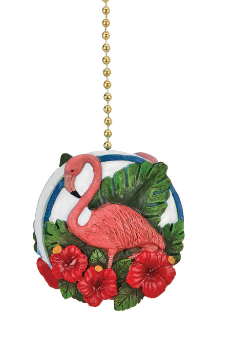 Flamingo and Hibiscus Flowers Oasis Ceiling Fan Light Dimensional Pull