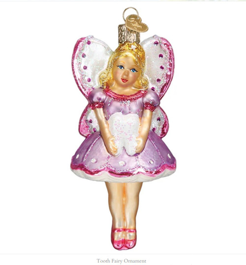 Purple Pink and White Tooth Winged Fairy Holiday Ornament
