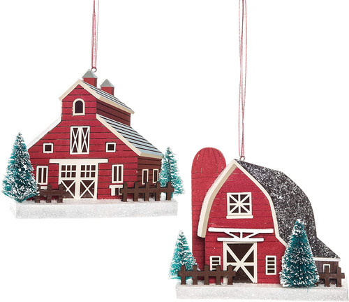 Red Farm Barns Silo Christmas Holiday Ornaments Set of 2