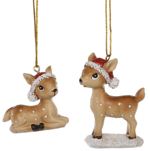 Baby Deer in Santa Hats Christmas Holiday Ornaments Set of 2 Resin