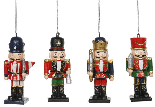 Regal Holiday Nutcrackers Christmas Ornaments Set of 4 Resin