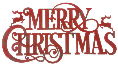 Merry Christmas Red Metal Cut Out Holiday Wall Hanging 23 Inches