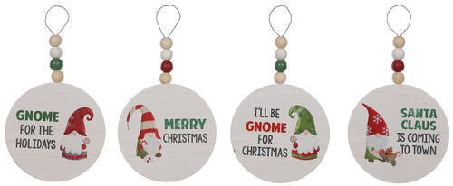 Beaded Gnomes Wood Round Holiday Ornaments Set of 4
