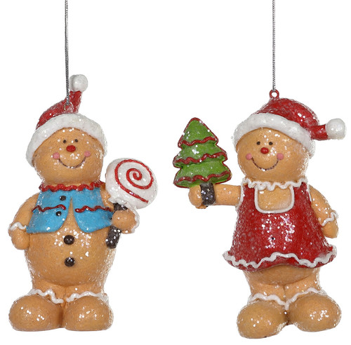 Gingerbread Boy and Girl Christmas Holiday Ornaments Set of 2