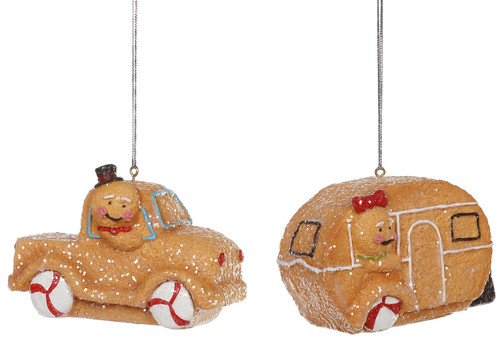 Gingerbread Pickup Truck and Camper Holiday Ornaments Set of 2