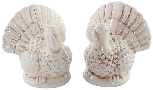 Creamy White Turkeys Holiday Salt and Pepper Shakers Ceramic