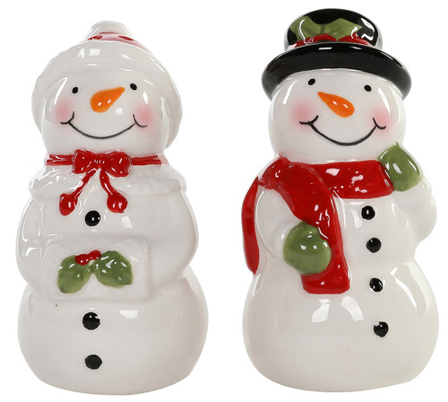 Smiling Mr and Mrs Snowman Holiday Winter Salt and Pepper Shakers Ceramic