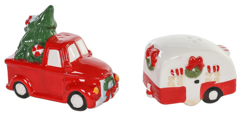 Christmas Red Truck with Tree and Holiday Camper Salt and Pepper Shakers