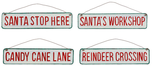 Santa Stop Workshop Candy Cane Lane Reindeer Crossing Holiday Signs Set of 4