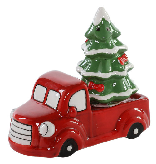 Red Holiday Truck with Christmas Tree Salt and Pepper Shaker Set
