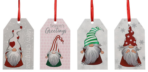 Holiday Gnomes Wood Tags Merry Christmas Seasons Greetings Ornaments Set of 4