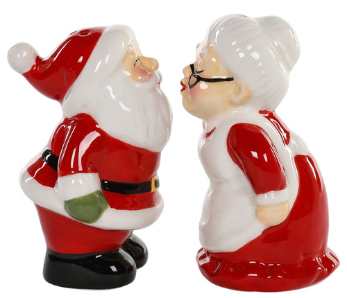 Santa Kissing Mrs Claus Christmas Holiday Salt and Pepper Shakers