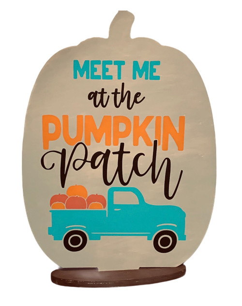 Meet Me at Pumpkin Patch Truck Shaped Pumpkin Painted Wood Table or Shelf Decor