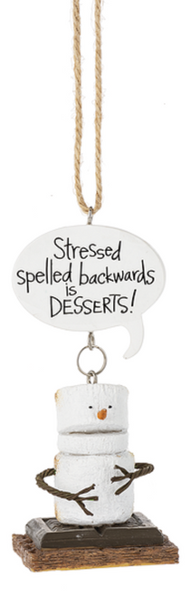 Smores Stressed Spelled Backwards Christmas Holiday Ornament