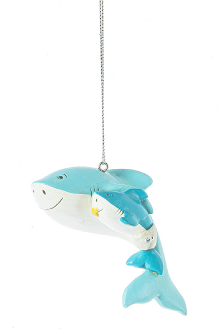 Shark Mom with Baby Shark in Diapers Christmas Holiday Ornament
