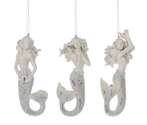 Whitewashed Mermaids Christmas Holiday Ornaments Set of 3