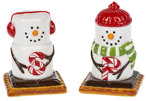 Smores Winter Snowmen Salt and Pepper Shaker Set Ceramic