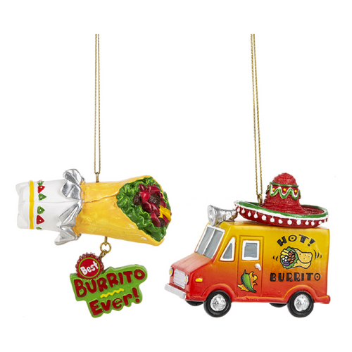 Fiesta Burrito Food Truck and Burrito Christmas Holiday Ornaments Set of 2