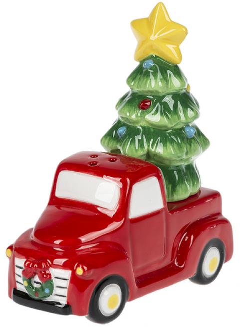 Red Truck with Christmas Tree Salt and Pepper Shaker Set