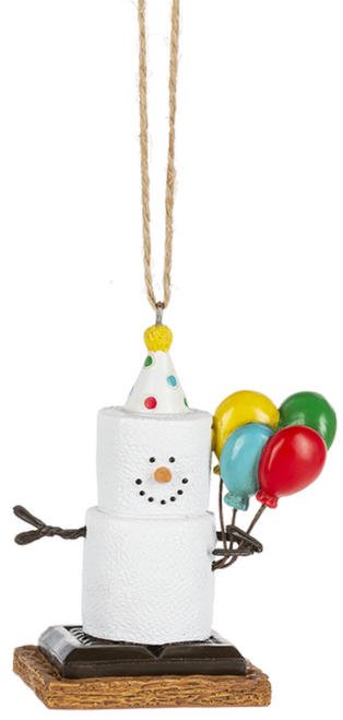 Smores Happy Birthday with Balloons Holiday Ornament
