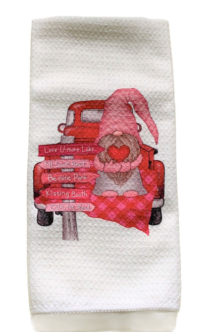 Valentine Gnome in Red Truck Be Mine Microfiber Waffle Weave Kitchen Dish Towel