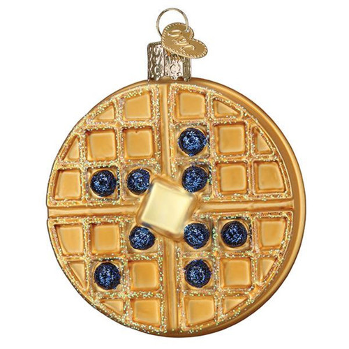 Waffle with Blueberries and Butter Christmas Holiday Ornament Glass