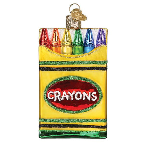 Box of Crayons Christmas Holiday Ornament Glass