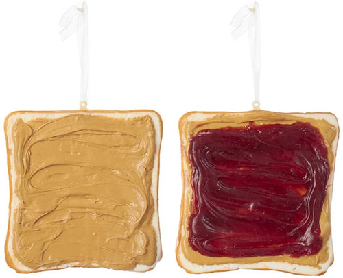 Sliced Toast with Peanut Butter and Jelly Christmas Holiday Ornaments Set of 2