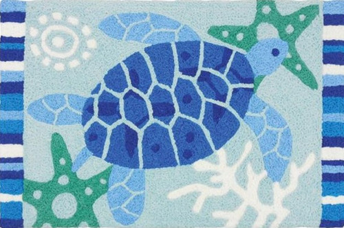 Jellybean Blue Sea Turtles Swimming Accent Area Rug 30 x 20 Inches