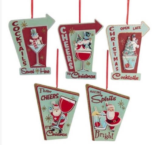 Retro Look Cocktails Cheers Making Spirits Bright Santa Holiday Ornaments Set/5