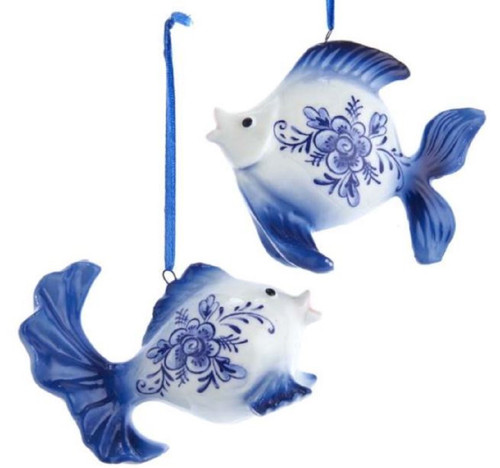 Blue and White Delft Fish Porcelain Christmas Holiday Ornaments Set of 2