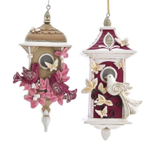 Pink and Burgandy Birdhouses Christmas Holiday Ornaments Set of 2
