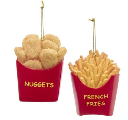 Nuggets and French Fries Christmas Holiday Ornaments Set of 2