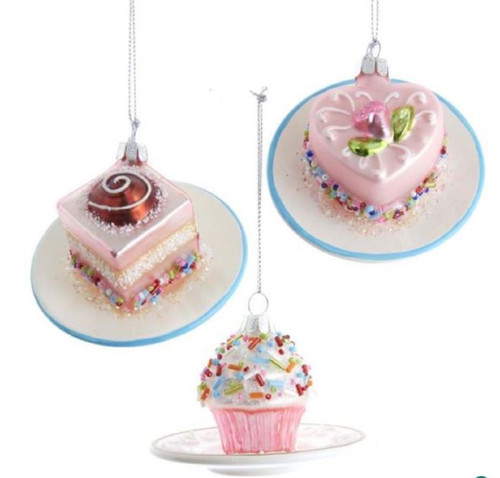 Miniature Cakes on a Plate Glass Christmas Holiday Ornaments Set of 3