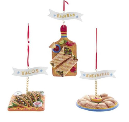 Fajitas Tacos and Empanadas Christmas Holiday Ornaments Set of 3