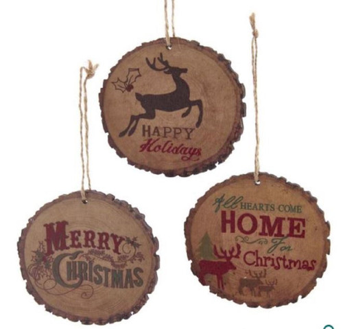 Reindeer Hearts Come Home Merry Christmas Wood Slice Plaque Ornaments Set of 3