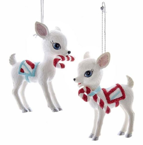 Baby Deer with Candy Canes Retro Inspired Christmas Holiday Ornaments Set of 2