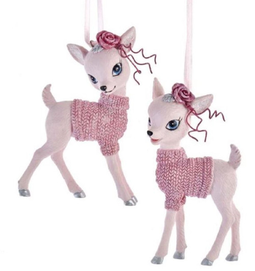 Pink Baby Deer in Sweaters Set of 2 Christmas Holiday Ornaments