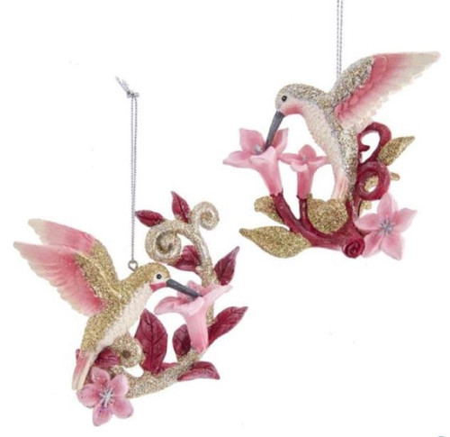 Glittery Silver Gold and Pink Hummingbirds on Flowers Retro Inspired Set of 2
