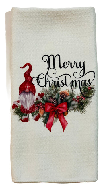 Merry Christmas Gnome Microfiber Waffle Weave Kitchen Dish Towel
