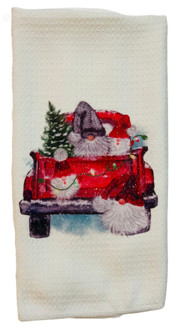 Gnomes in Red Pickup Truck Microfiber Waffle Weave Kitchen Dish Towel