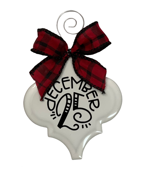 December 25 Buffalo Plaid Christmas Holiday Ornament Porcelain