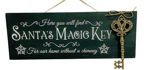 Santas Magic Key Holiday Green Wall Plaque with Ornate Golden Key 15.75 Inches